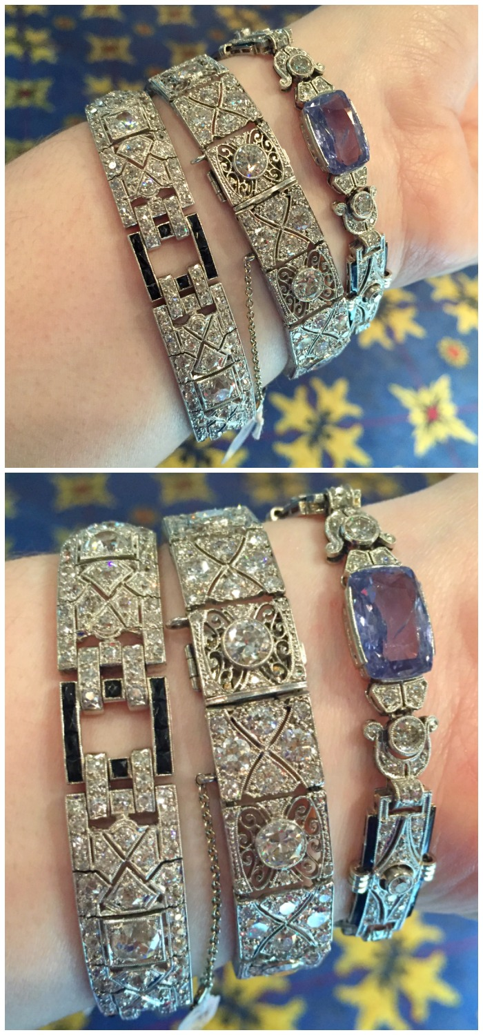 A trio of glorious antique diamond bracelets on my wrist at Keyamour during the Las Vegas Antique Jewelry and Watch Show.