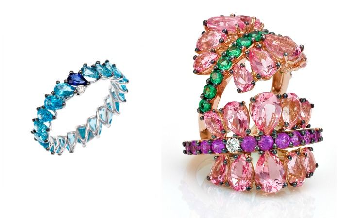Beautiful gold and colored gemstone rings from the Stefan Hafner Aria collection.