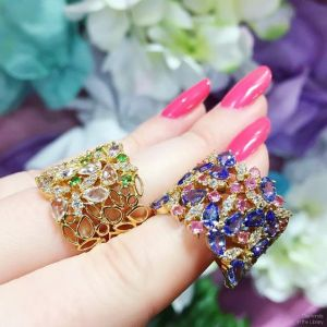 Gorgeous, floral-inspired colored gemstone cigar band rings from @ayvajewelry's latest collection! Love these bright beauties so much.