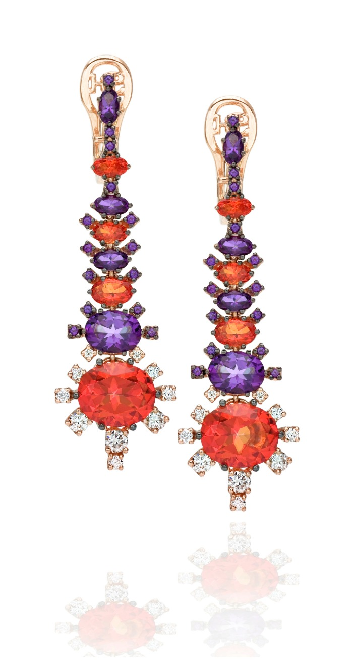 Spectacular gold and colorful gemstone earrings from Stefan Hafner's Aria collection.