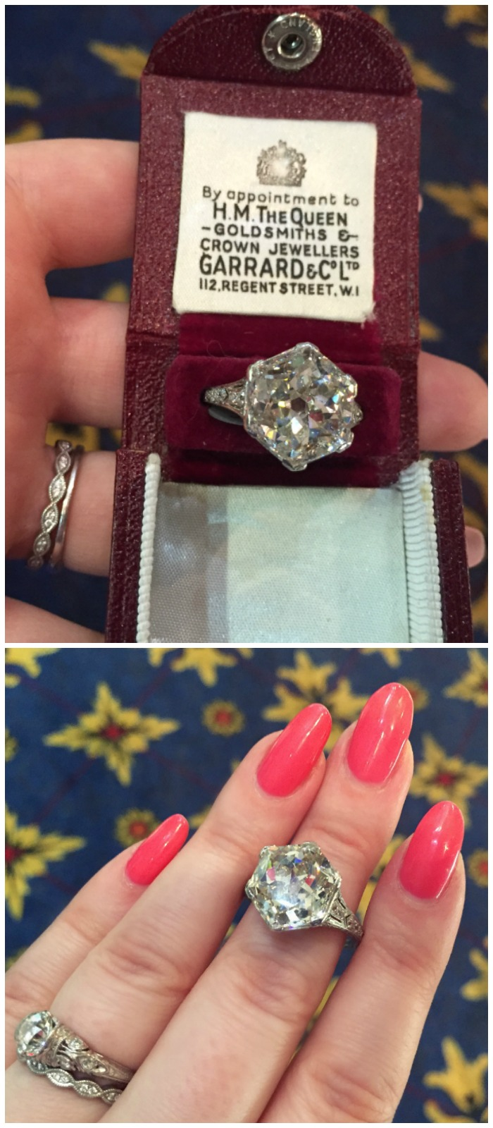 This 8.18 hexagonal diamond ring was purchased in Paris in 1910. It was lost for many years, and found in the 1990's by a young girl looking for her lost hamster. At Simon Teakle.