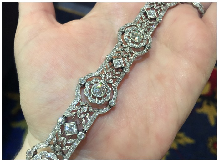This beautiful antique diamond bracelet was orignally a bandeau, to be worn in the hair like a diamond headband. At Humphrey Butler.