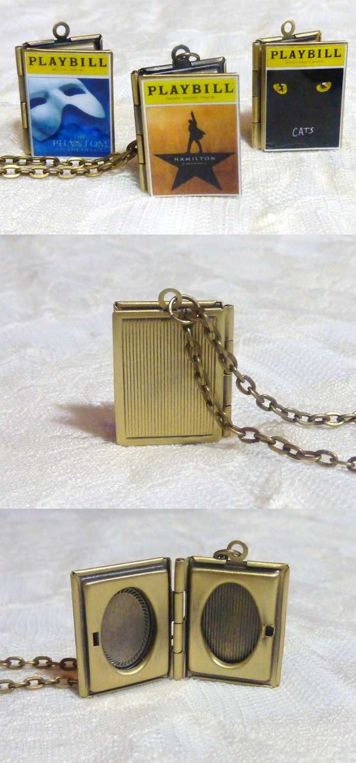 While we're talking about Hamilton jewelry, I can't leave out this custom locket made to look like the musical's playbill.