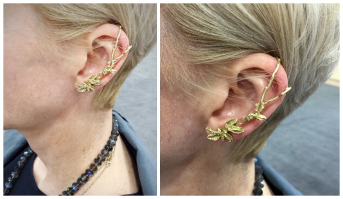 A beautiful gold floral ear cuff and labrodorite necklace on the lovely Judi Powers.