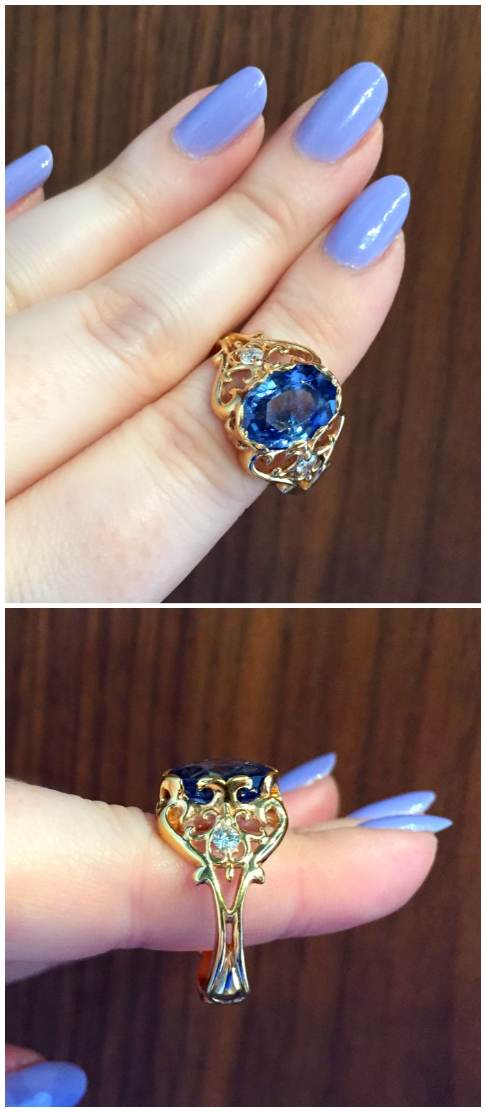 A beautiful sapphire and diamond ring from Hunt Country Jewelers.