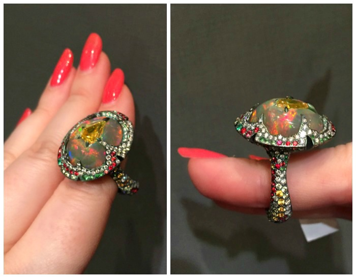 A glorious opal, diamond, and gemstone ring by Arunashi.