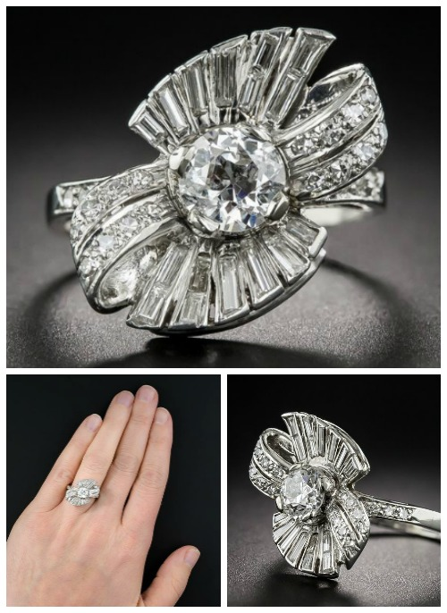 A glorious vintage 1950's diamond bow cocktail ring. At Lang Antiques.