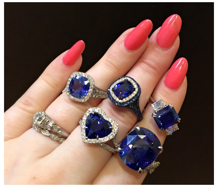 A hand full of glorious sapphire and diamond rings from Omi Prive.