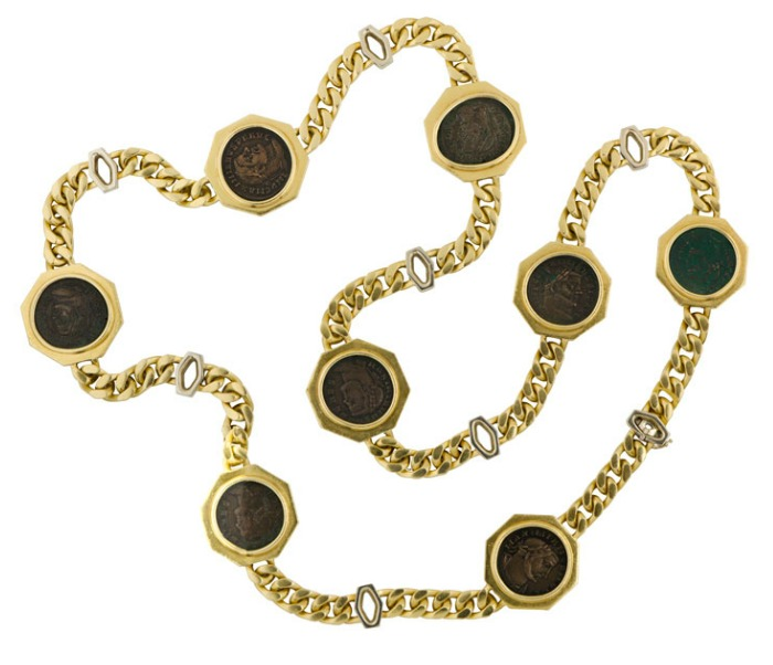 A vintage Bulgari necklace featuring ancient coins in gold.