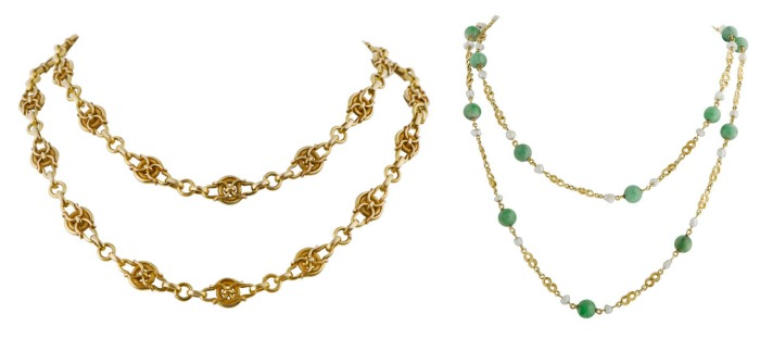 An Art Nouveau gold chain from 1890 and an Arts and Crafts chain with pearls and jade from 1910. At M. Khordipour.