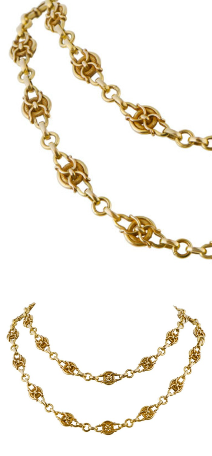An antique Art Nouveau gold chain. Look at those intricate links! Circa 1890. At M. Khordipour.