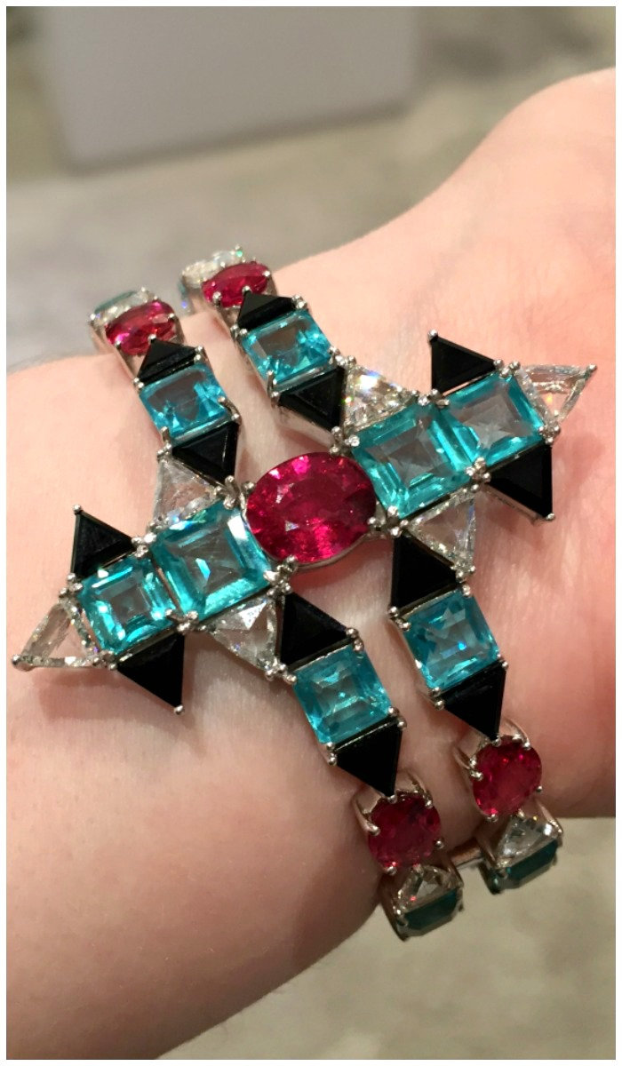 An incredible cuff by Nikos Koulis with apatites, rubellites, onyx, and diamonds.