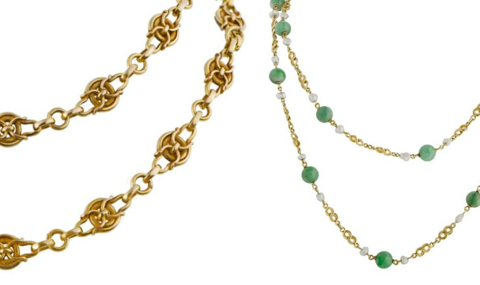 Detail view - an Art Nouveau gold chain from 1890 and an Arts and Crafts chain with pearls and jade from 1910. Both antique, at M. Khordipour.