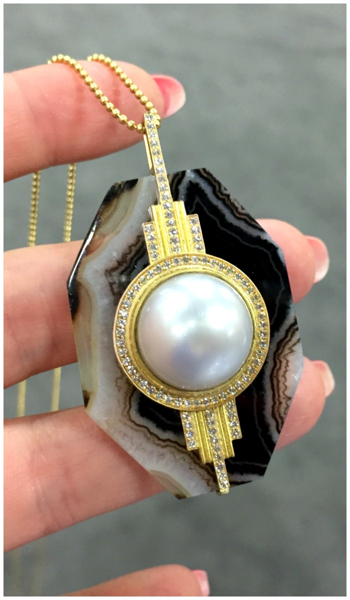 Doryn Wallach South Sea pearl and agate pendant with diamonds.