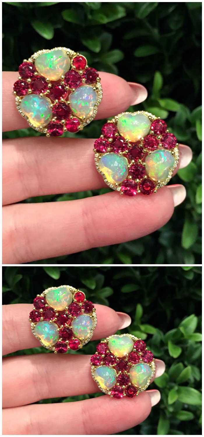 I love the colors in these opal and red spinel earrings by Campbellian Collection.