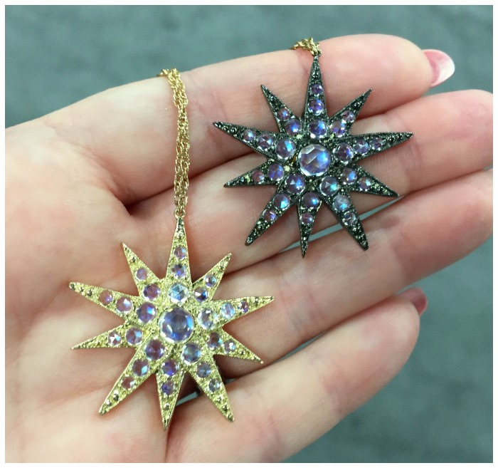 I love these Blackbird and the Snow star pendants with faceted moonstones.