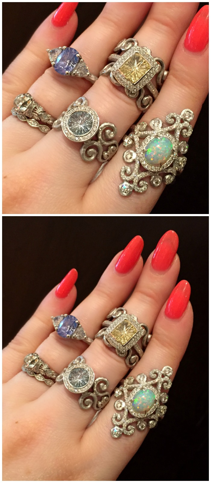 I loved everything I was seeing at the Pamela Froman booth at the Couture jewelry show. Such beautiful alternative engagement rings, and that killer opal!