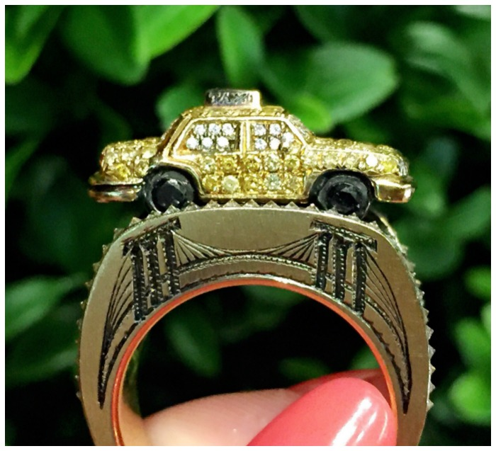 The details on this taxi ring from Wendy Brandes' Maneater collection are amazing. And look at that tiny, bejeweled taxi!