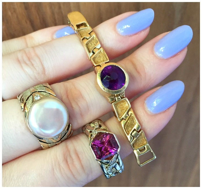 This cool custom project by Hunt Country Jewelers is three rings with articulated gold bands that fasten in the back like a watch.