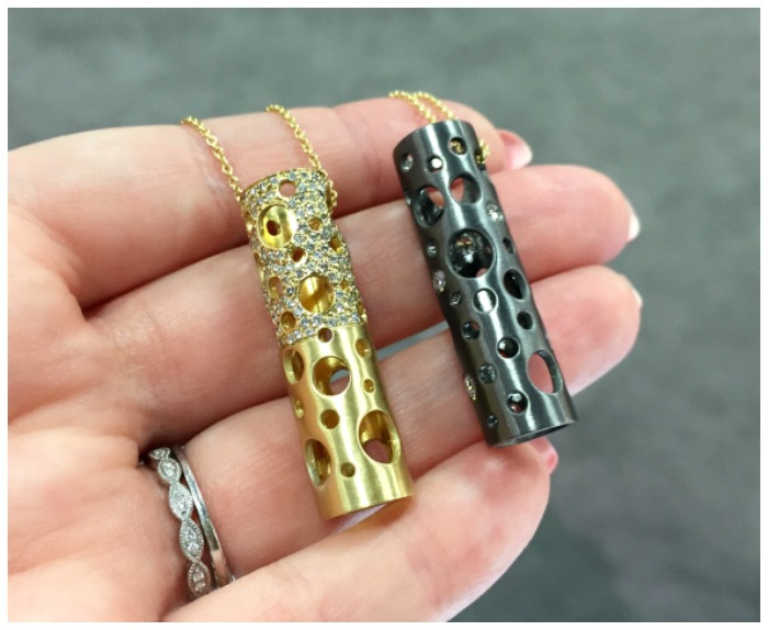 Two beautiful pendants by Dana Bronfman. These babies can be worn in any number of ways and come with optional diamonds.