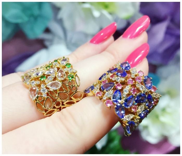 Two stunning gemstone rings by Ayva jewelry. This collection is inspired by flowers.