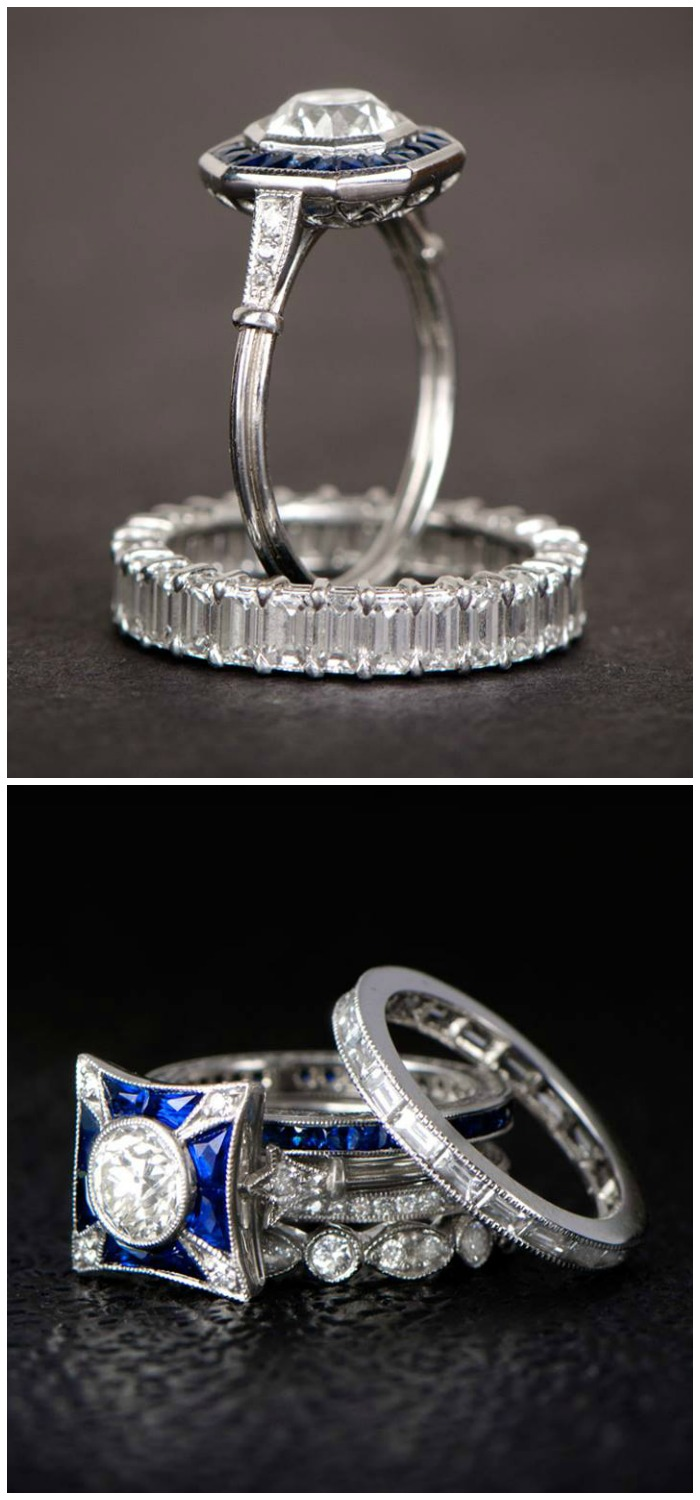 Two wedding ring stacks featuring sapphire and diamond engagement rings from Estate Diamond Jewelry.