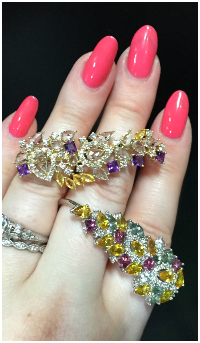 Wonderful gemstone double-finger rings by Ayva jewelry.