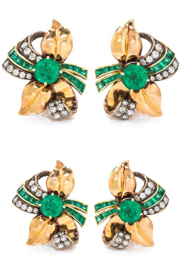 A Pair of Retro Yellow Gold, Emerald and Diamond Earclips.