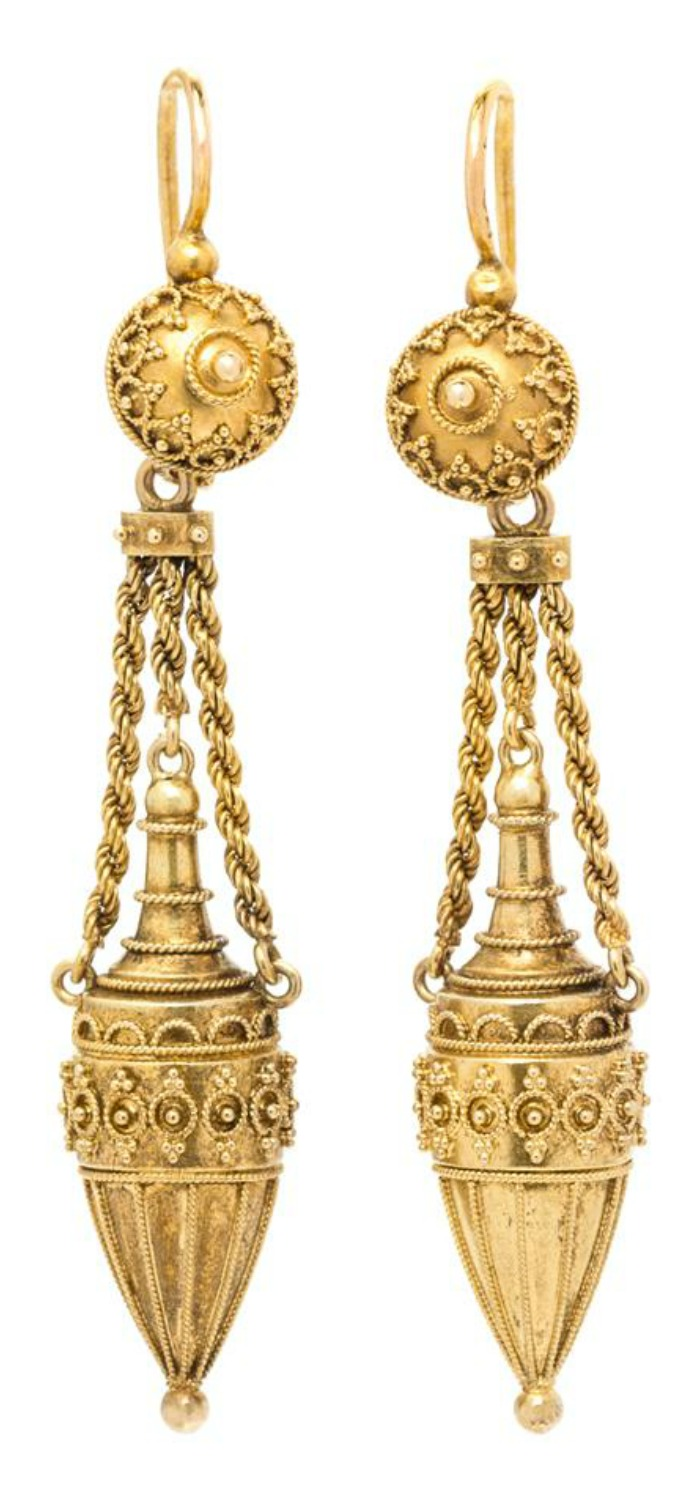 A beautiful pair of antique Victorian era Etruscan revival earrings.