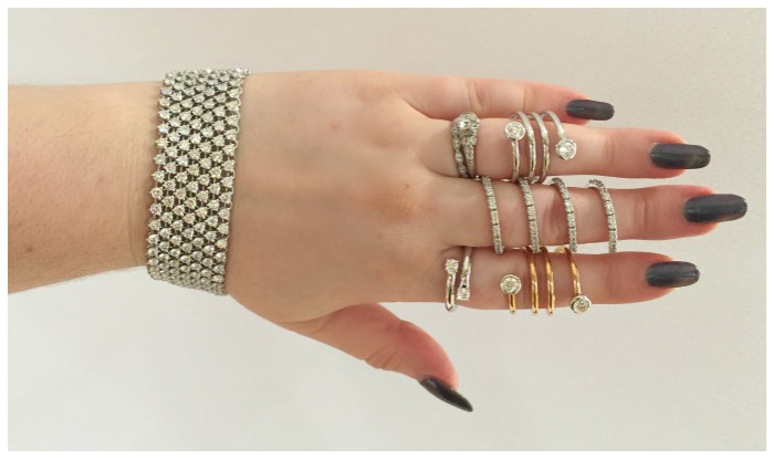 A diamond bracelet and several diamond rings by A. Link on blogger Becky of Diamonds in the Library at JCK Luxury Prive.