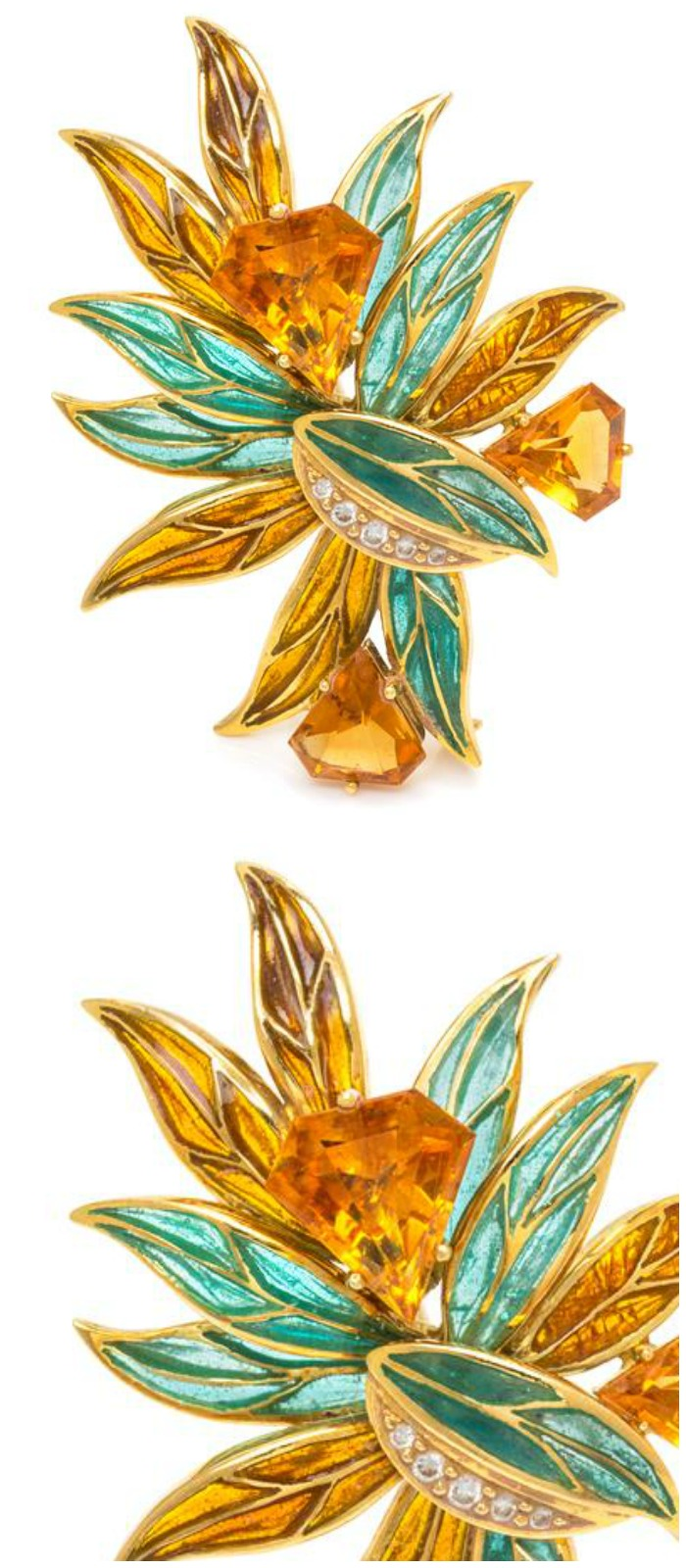 A fabulous citrine, yellow gold, and plique-a-jour brooch with a 5.82 ct citrine.