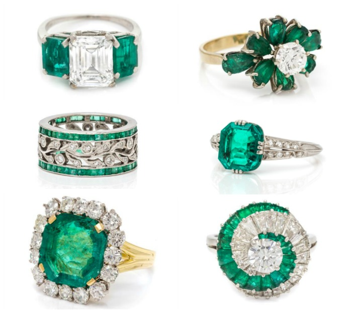A selection of beautiful vintage and antique emerald and diamond rings from Leslie Hindman's September jewelry sale.