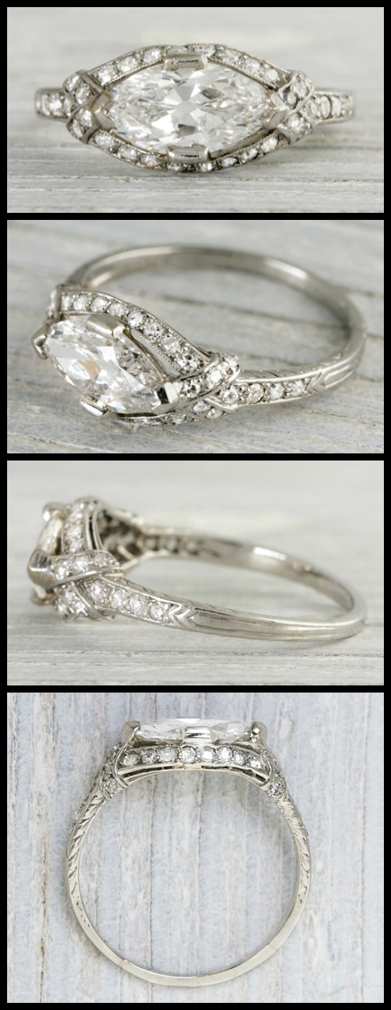 An antique Art Deco East-West marquise engagement ring by Tiffany and Co., circa 1925. Via Diamonds in the Library.