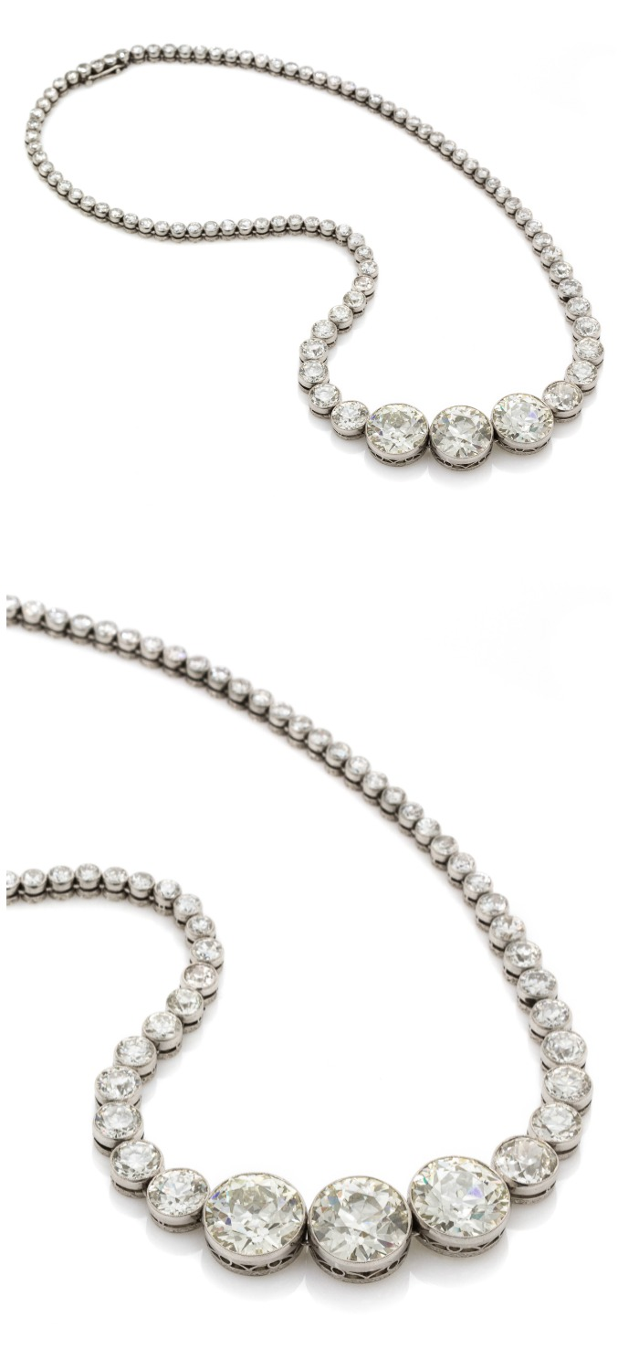 An important platinum and diamond necklace, totaling just over 40 carats of diamonds.