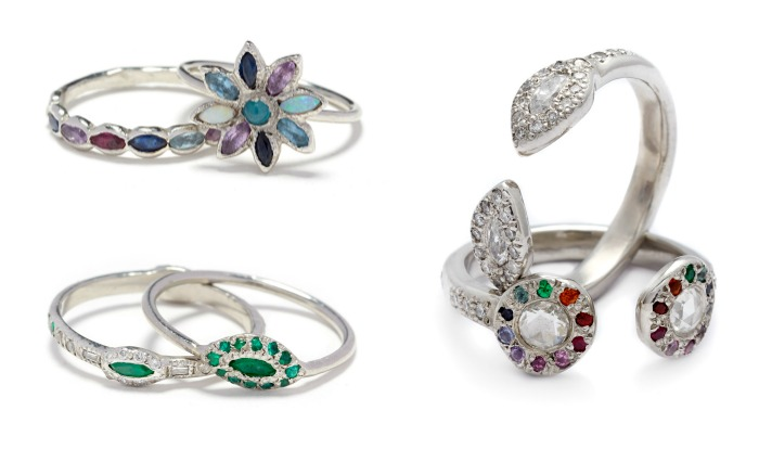 Beautiful rings by Elisa Solomon. With diamonds and gemstones.