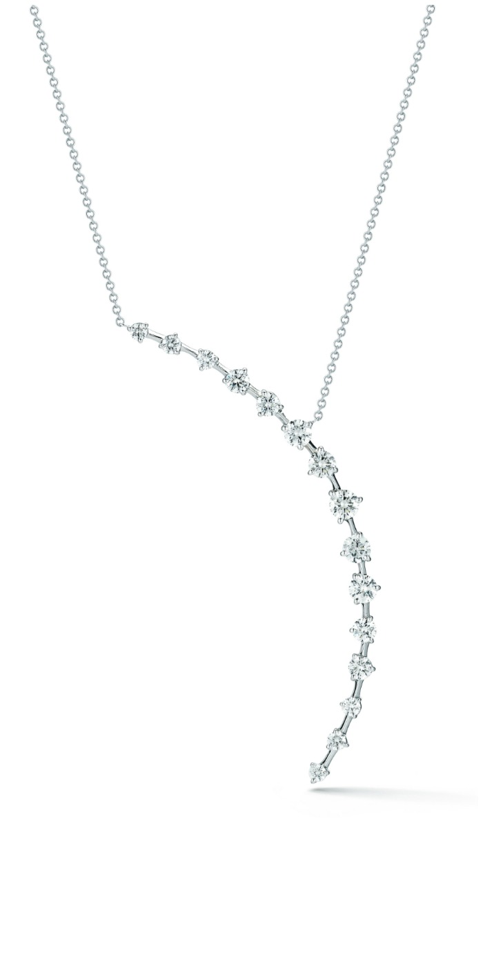 Forevermark by Jade Trau Crescent Pendant set in 18k White Gold
