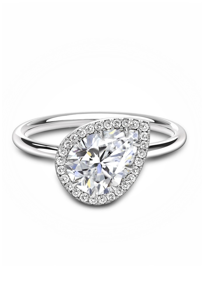 Forevermark by Jade Trau Free Bird halo diamond solitaire engagement ring set in 18k white gold.