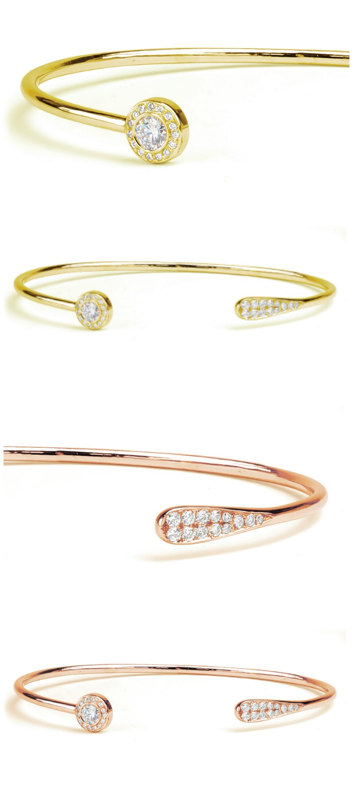 Forevermark by Jade Trau Halo Cuff with diamonds in 18k rose or yellow gold.