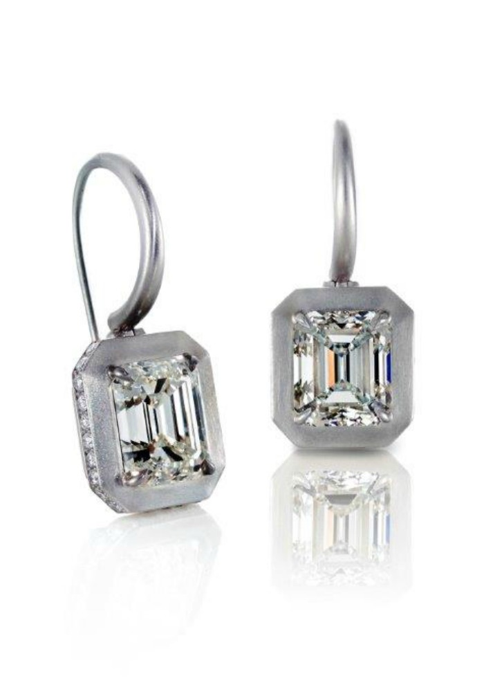 Forevermark emerald cut diamond earrings set in brushed platinum