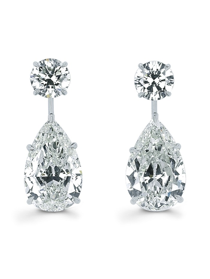 Forevermark pear and round cut diamond drop earrings. So glamorous!