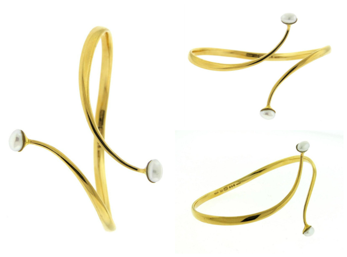 Georg Jensen gold and pearl bypass cuff bracelet number 966. at Oakgem.