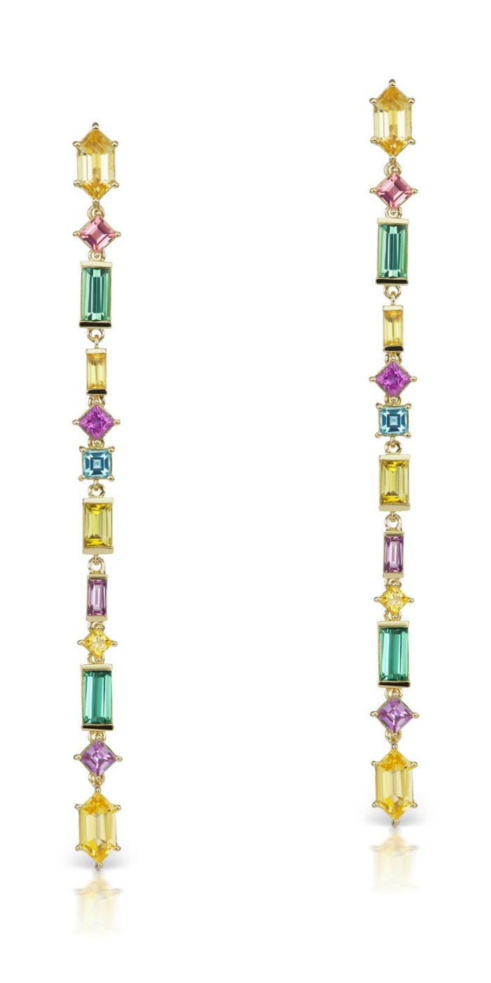 Jane Taylor jewelry's Cirque Aerial Silk earrings in 18K yellow gold, with yellow beryl, pink tourmaline, green tourmaline, yellow sapphire, magenta sapphire, aquamarine, and yellow tourmaline.