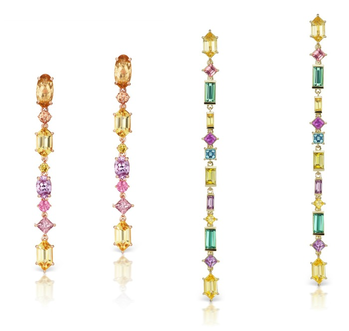 Jane Taylor jewelry's Cirque Aerial Silk earrings in two different color schemes, each featuring rare colored gemstones and diamonds.