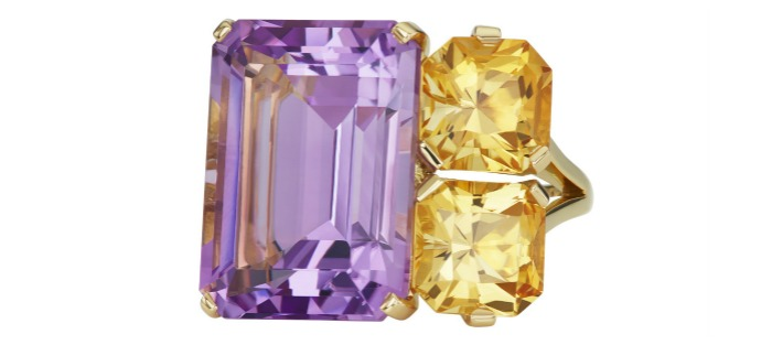 Jane Taylor jewelry's Cirque Banquine ring in 18K yellow gold with 16.33ct lavender amethyst and 4.14ctw specialty German cut honey citrines.