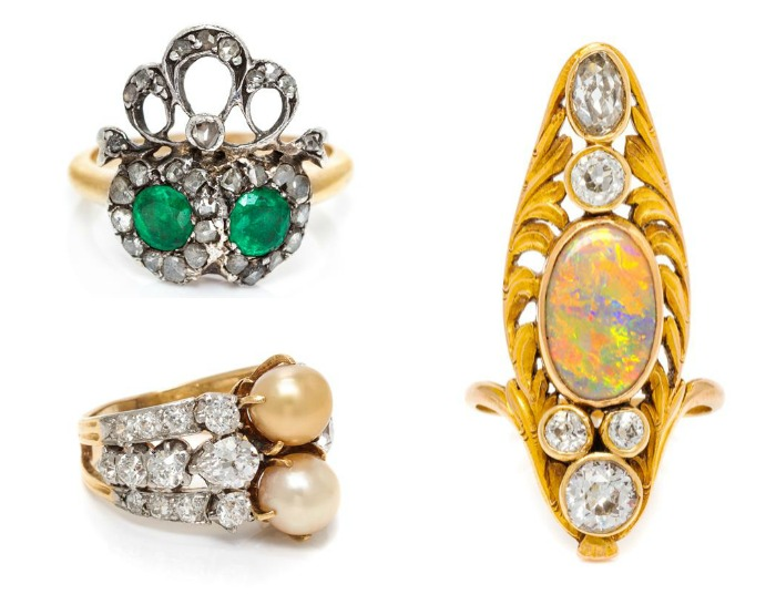 Three beautiful antique rings from Leslie Hindman's upcoming September auction.