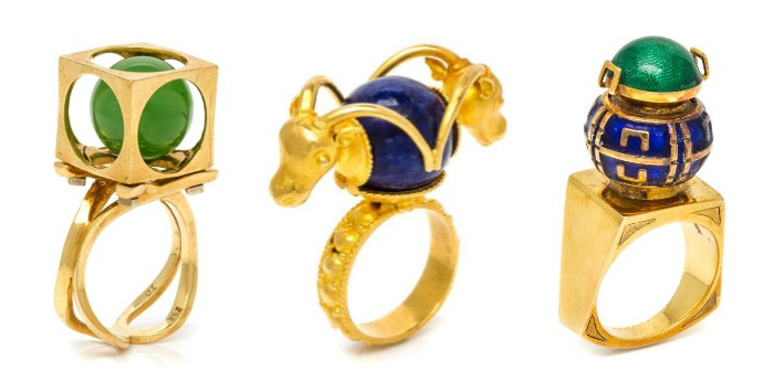 Three funky and fantastic vintage rings from Leslie Hindman's upcoming September jewelry auction.