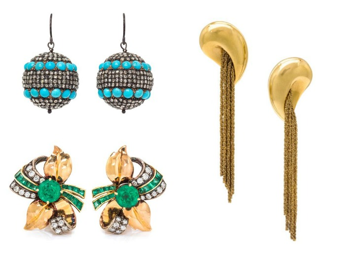 Three pairs of earrings from Leslie Hindman's upcoming jewelry auction.