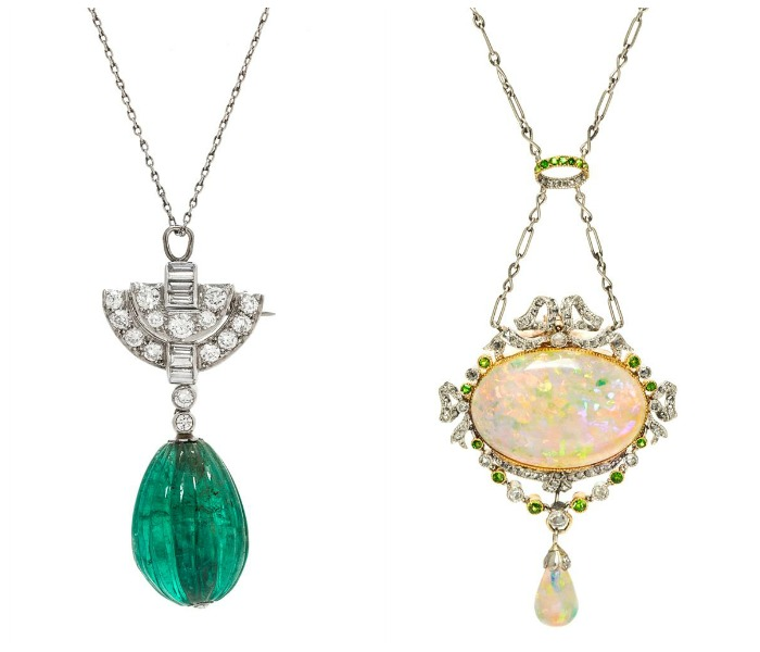 Two beautiful necklaces from the upcoming Leslie Hindman auction. Tiffany and Co. emerald with diamonds on the left, Edwardian era opal with diamonds and demantoid garnets on the right.