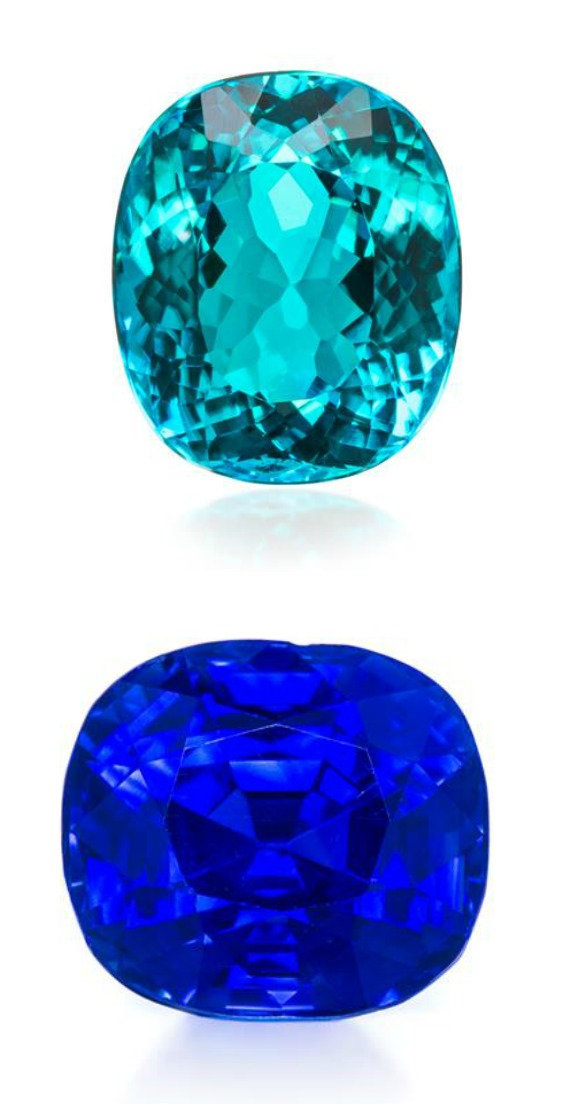 Two gems from an upcoming Leslie Hindman auction; a 4.01 carat Brazilian Paraiba tourmaline, and a 6.40 carat Kashmir sapphire.