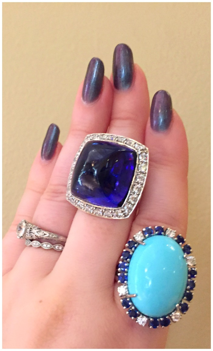 Two magnificent Andreoli rings. One is tanzanite, the other turquoise. Spotted at JCK Luxury Prive.